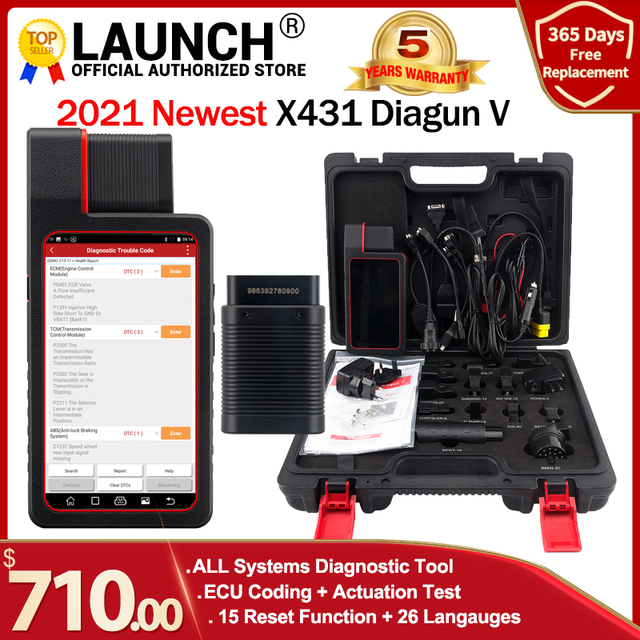 Launch X431 Diagun V 2 년 무료 온라인 업데이트 X 431 Diagun iv Diagun iii 자동 obd2 진단 도구보다 낫습니다.