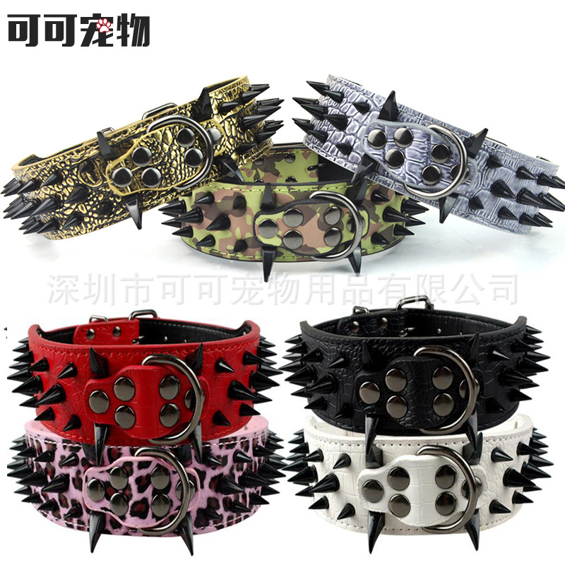 Hot Sales-Hide Substance With Black And White With Pattern Spike Middle And Large Dog Neck Ring Pet Pet Supplies