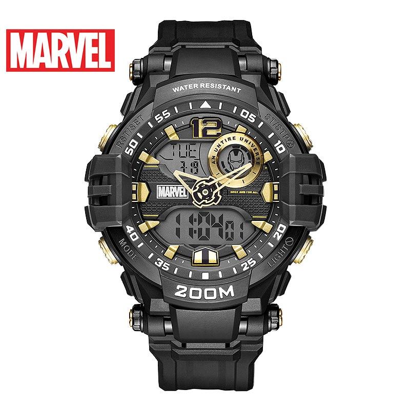 Disney Marvel Men's Watch Iron-man Waterproof Digital Watch Trend Casual Multifunctional Men's Watch Sport 20Bar Stop Watch