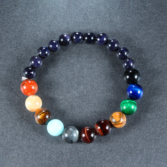 Eight Planets Natural Stone Bracelet Universe Yoga Chakra Galaxy Solar Lovers System Bracelets For MenOrWomen JewelryAnniversary