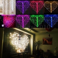 US/UK/EU Plug Romantic Heart shaped LED Fairy Curtain String Lights For Valentine Wedding Party Window Garland Decor
