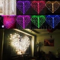 US/UK/EU Plug Romantic Heart shaped LED Fairy Curtain String Lights For Valentine Wedding Party Window Garland Decor