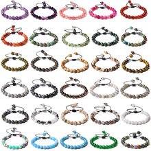Multicolorido feminino masculino natural 8mm grânulos de pedra charme trança pulseira ametista ajustável ágata contas de pedra cura tecido pulseira