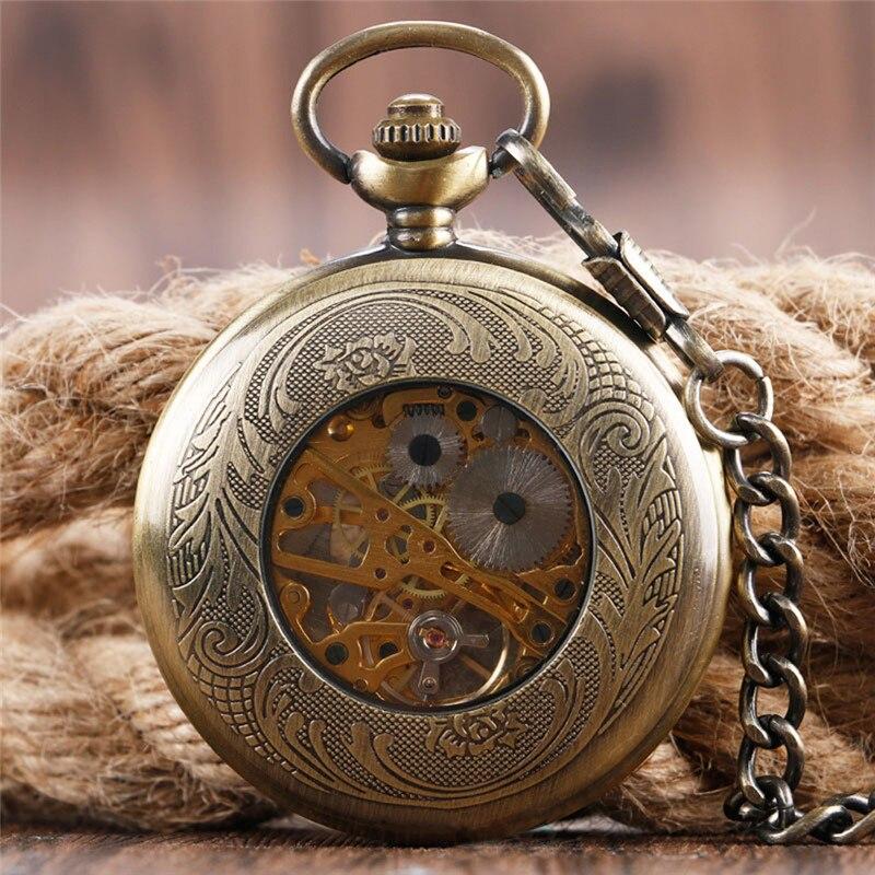 Steampunk relógio de bolso mecânico meia caçador