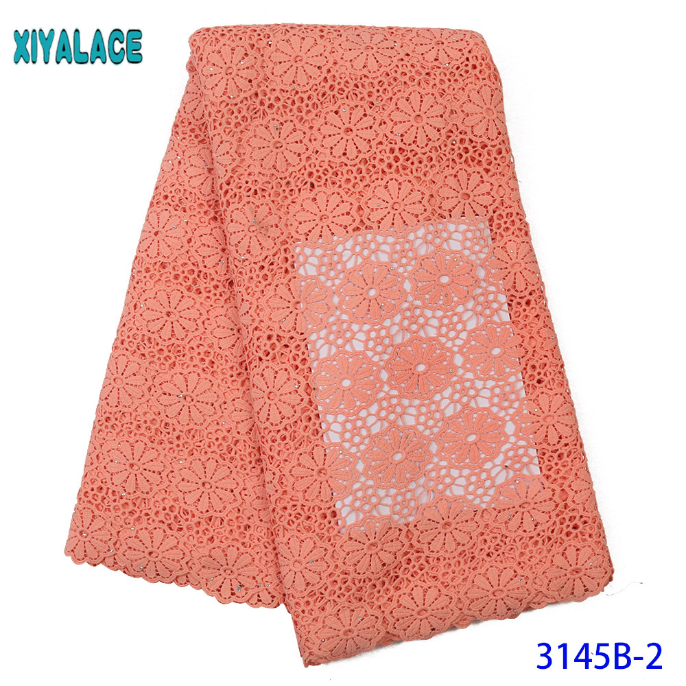 High Quality Cord Lace Fabric African Fabric Lace Guipure Lace Fabrics With Stones For Women Dresses Peach KS3145B