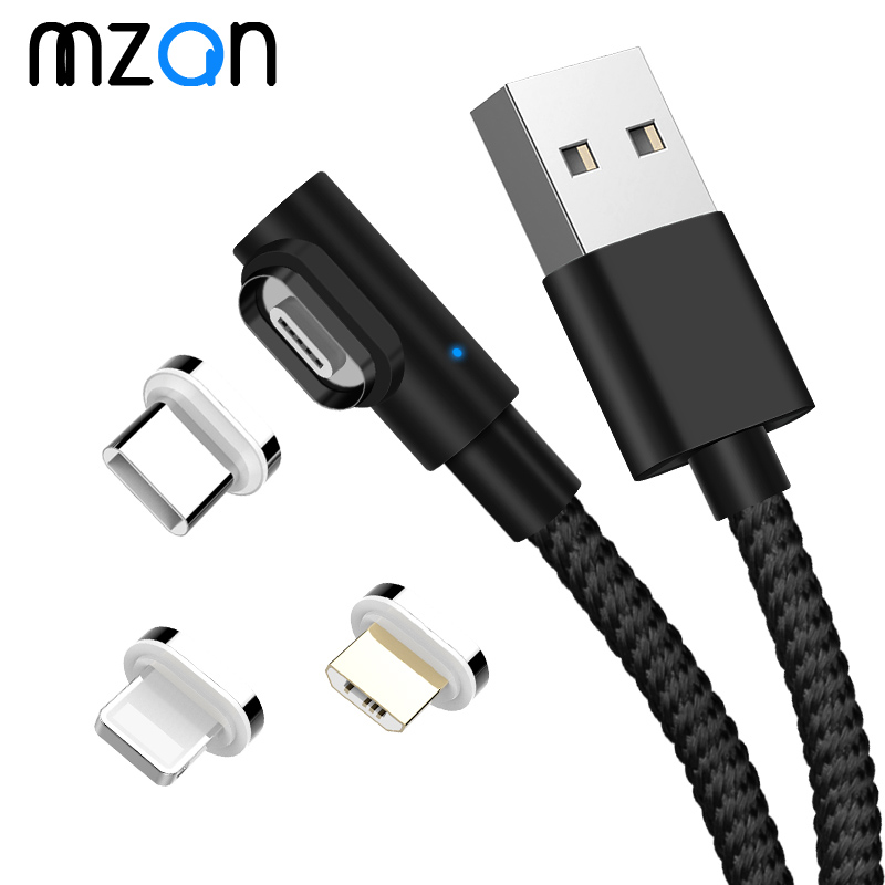 Magnetic Cable 3A Fast Charger Micro USB Type C Charger For iPhone XS Max Samsung Charge 90 Degree Magnet Android Phone Cord|Mobile Phone Cables|   - AliExpress