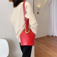 Womens bag color solid creative belt bucket ladies leather shoulder brand designer Messenger