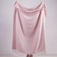 Phf textura acrílica de malha sofá cobertor capa fundas nordias cobertores e colchas decorativo cobertor envolto na cama rosa