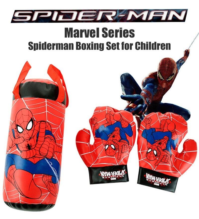 Spiderman anime figura luvas de boxe saco de areia marvel homem aranha luvas de boxe das crianças saco de boxe brinquedos para o presente do menino da criança