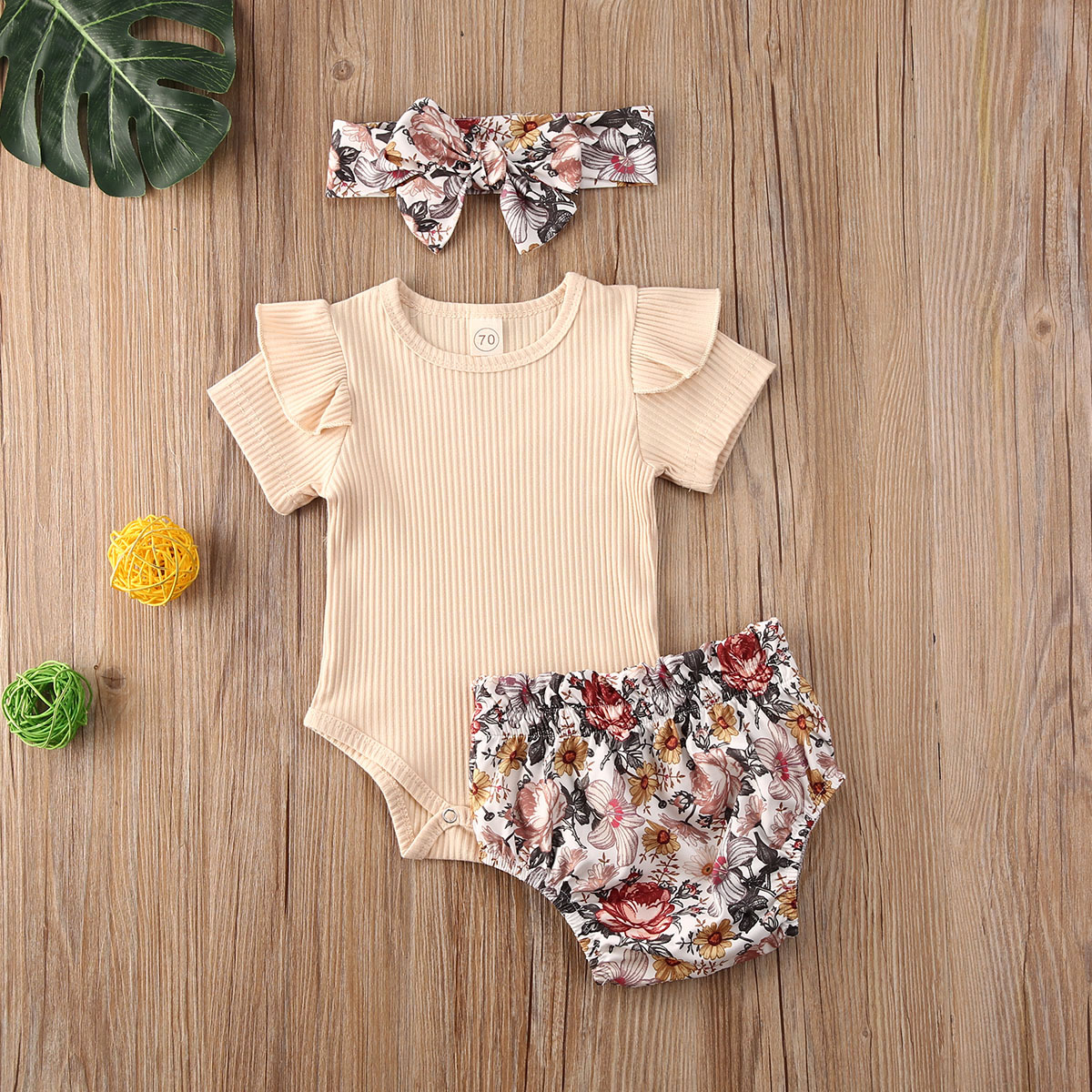 Newborn 3Pcs Solid Color Short Sleeve Printed Shorts Bow Tie Elastic Waist Summer Baby Clothing Set 0-24M