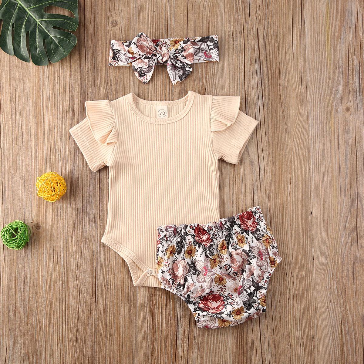Newborn 3Pcs Solid Color Short Sleeve Printed Shorts Bow Tie Elastic Waist Summer Baby Clothing Set 0-24M