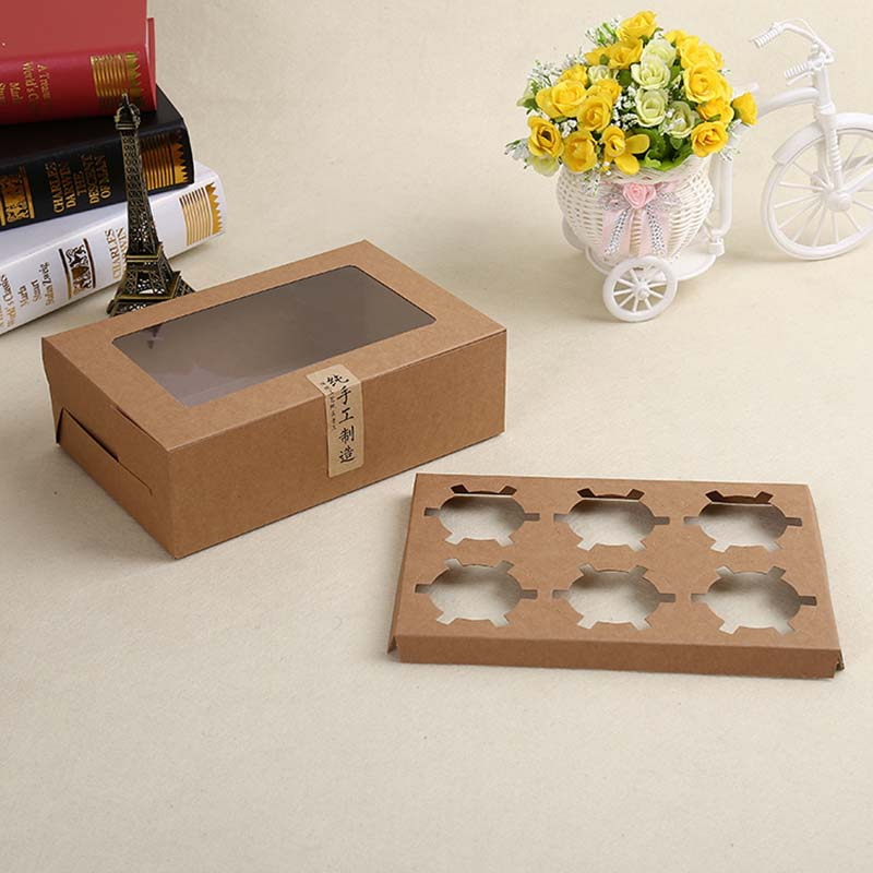 6 Hole Kraft Paper Cupcake Cake Box With Cake Tray Soap Pudding Dessert Food Packaging Box With Clear Window Wedding Gift Box
