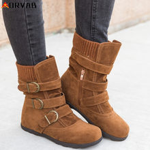 Winter Boots Women Zapatos De Mujer Fashion Ankle Boots Brown Gray Red Black Shoes Woman Flast Warm Snow Boots Plus Size 35-43(China)