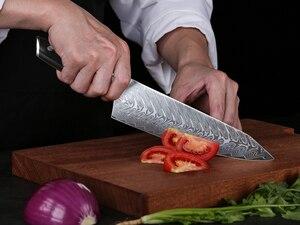 Image 4 - TURWHO 8.2 inç şef bıçağı japon şam çelik mutfak bıçağı Pro paslanmaz çelik Gyuto dilimleme et bıçak abanoz kolu