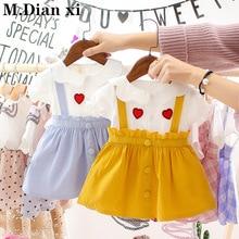 Детское платье Коллекция года, новое летнее платье на бретелях для маленьких девочек платье с вышивкой в Корейском стиле с героями мультфильмов От 0 до 2 лет Детское модное платье