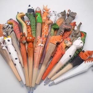Image 4 - 20pcs/set Wholesale Cartoon Wedding Gifts Stationery Cute Handmade Wood Carving Pen Wholesale Wood Animal Pen for Kids