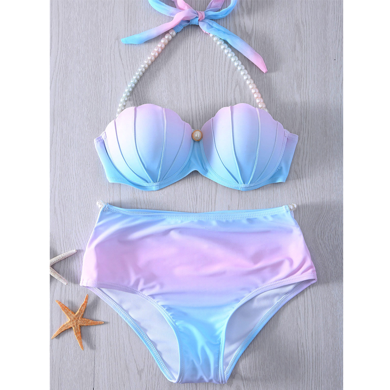 Sexy Pearl High Waist Bikini Push Up Women Swimsuit 2020 Mermaid Shell Swimwear Bikini Swimming Suit Bathing Suit Swim Dress