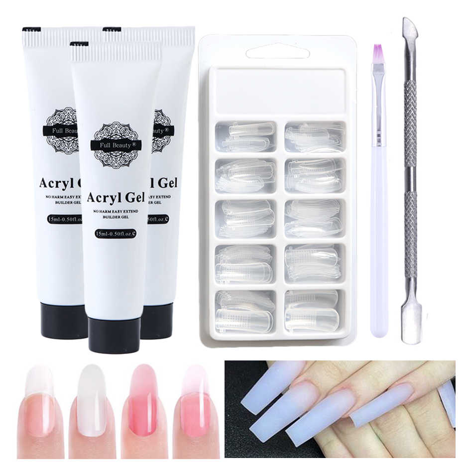 1Set Poly Nail Gel Kits Voor Manicure Clear Crystal Jelly Hard Gel Quick Builder Acryl Gel Nagel Polygel tips GL973-1