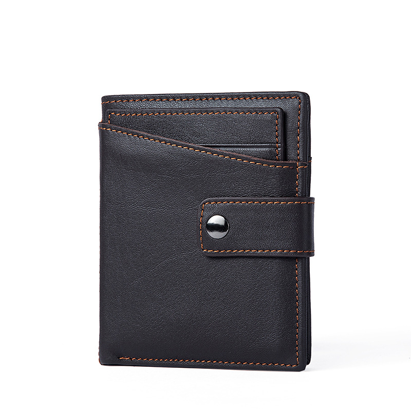 2019 Hot Men's Leather Bifold ID Card Holder Purse Wallet Billfold Handbag Slim Bag For New Generation Male's In Brown Color