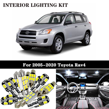 8Pcs White Canbus led Car interior lights Package Kit for Toyota Rav4 RAV 4 RAV-4 2005-2017 2018 2019 2020 led interior lights image