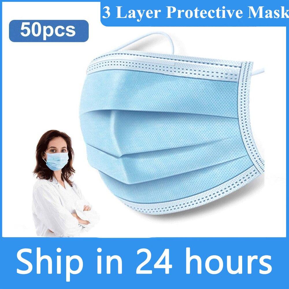 Face Masks 50pcs Disposable Facial Protective Cover Masks Set For 3 Layers Mascarillas Dustproof Mask Anti-Dust Face Masks