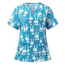 Nurse Uniform Short Sleeve V-neck Rabbit Pattern Tops Nursing Female Workwear Uniform T-shirts Casual Breathable Working Uniform