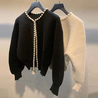 2020 Spring women's fashion pearls beading cardigans Chic women knitted coat B594