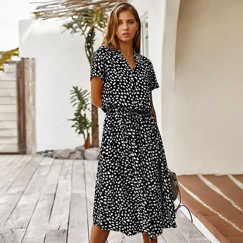 Fashion Polka Dot Print Dress Women High Waist Sashes A Line Summer Dress Short Sleeve Single-Breasted Bohemian Midi Dresses 13