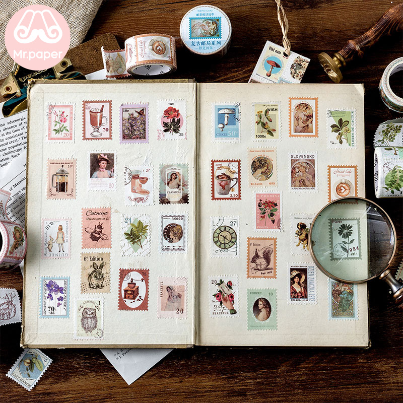 Mr Paper 8 Designs Retro Post Office Plant Bullet Journaling Stamp Tapes Scrapbooking Deco Sticker Masking Tapes Easy to Tear 4