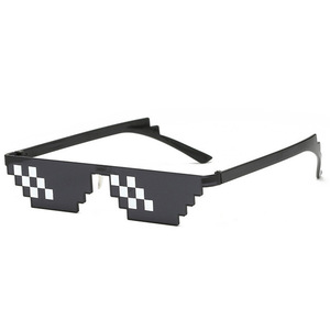 Image 2 - TTLIFE Funny Glasses Men Thug Life Sunglasses Mosaic Masculine 8 Bits Style Pixel Ridiculous Accessory Black Polygonal Oculos