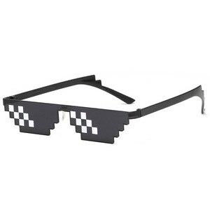 Image 2 - TTLIFE מצחיק משקפיים גברים Thug Life משקפי שמש פסיפס גברי 8 ביטים סגנון פיקסל מגוחך אבזר שחור מצולעים Oculos