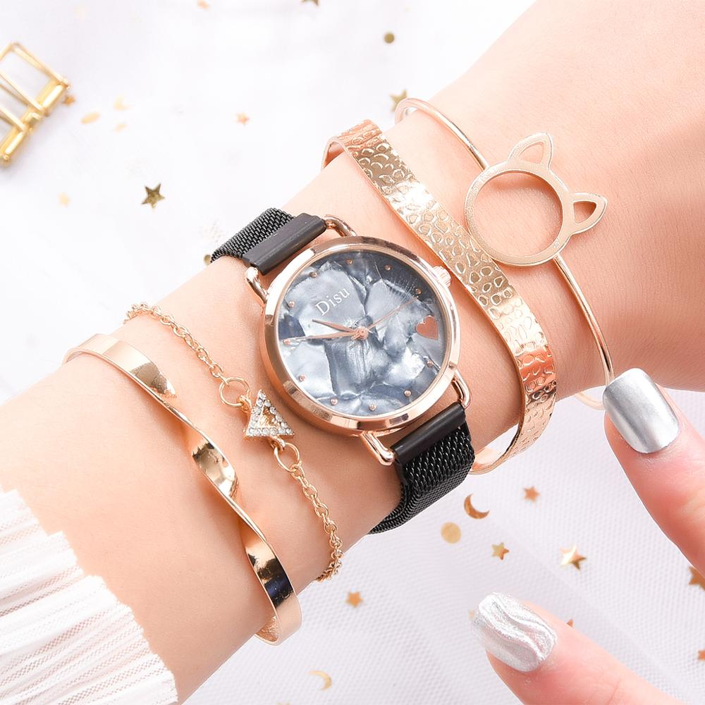 Top Brand 5pcs Set Watch Women Fashion Rose Gold Women Watches Bracelet Watch Ladies Dress Unique Design Magnet Wristwatch Clock