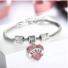 YLWHJJ Брендовое розовое хрустальное сердце, подвеска на цепочке, браслет для женщин, медсестры, любовь, модные ювелирные изделия