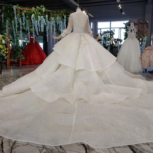 Image 3 - HTL969 ball gown wedding dress long sleeve tulle lace bead sequin illusion luxury wedding gown high neck свадебные платья 2020
