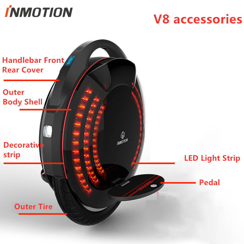 Original INMOTION V8 Self Balance Scooter Charger Body Shell Protect Cover Pad Handle Pedal Sticker Outer Inner Tires LED Parts