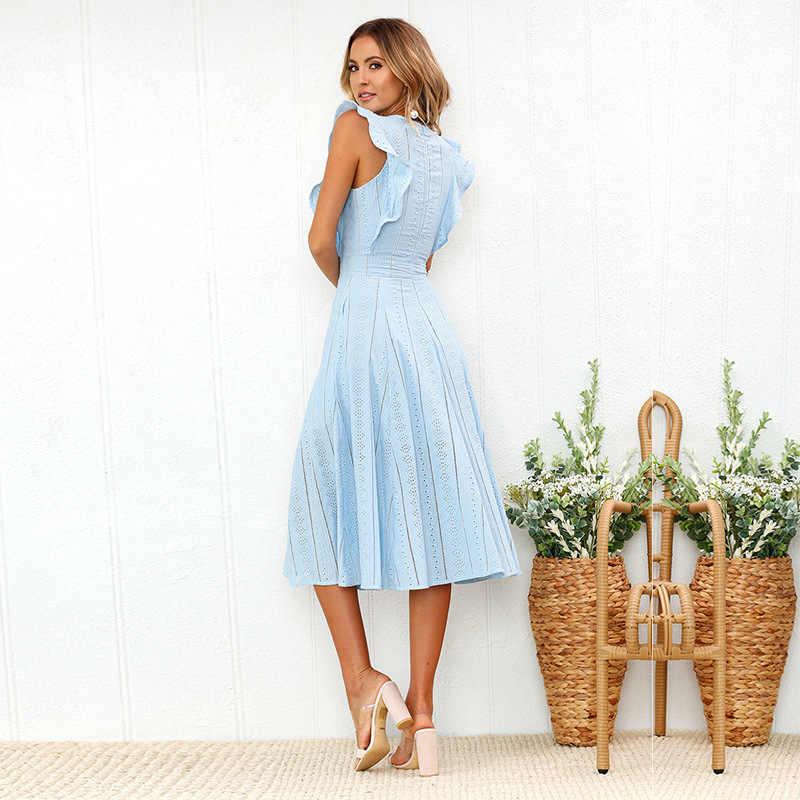 VITIANA, vestido informal de oficina para mujer, Maxi, largo, Midi, línea A, para mujer, verano 2018, blanco, azul, sólido, encaje, sin mangas, elegante vestido de fiesta