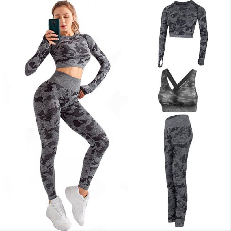 Camo Fitness Set Women Seamless Exercise Workout Long Sleeve Jogging Bra Training Leggings 3-piece Set Camouflage Sportswear