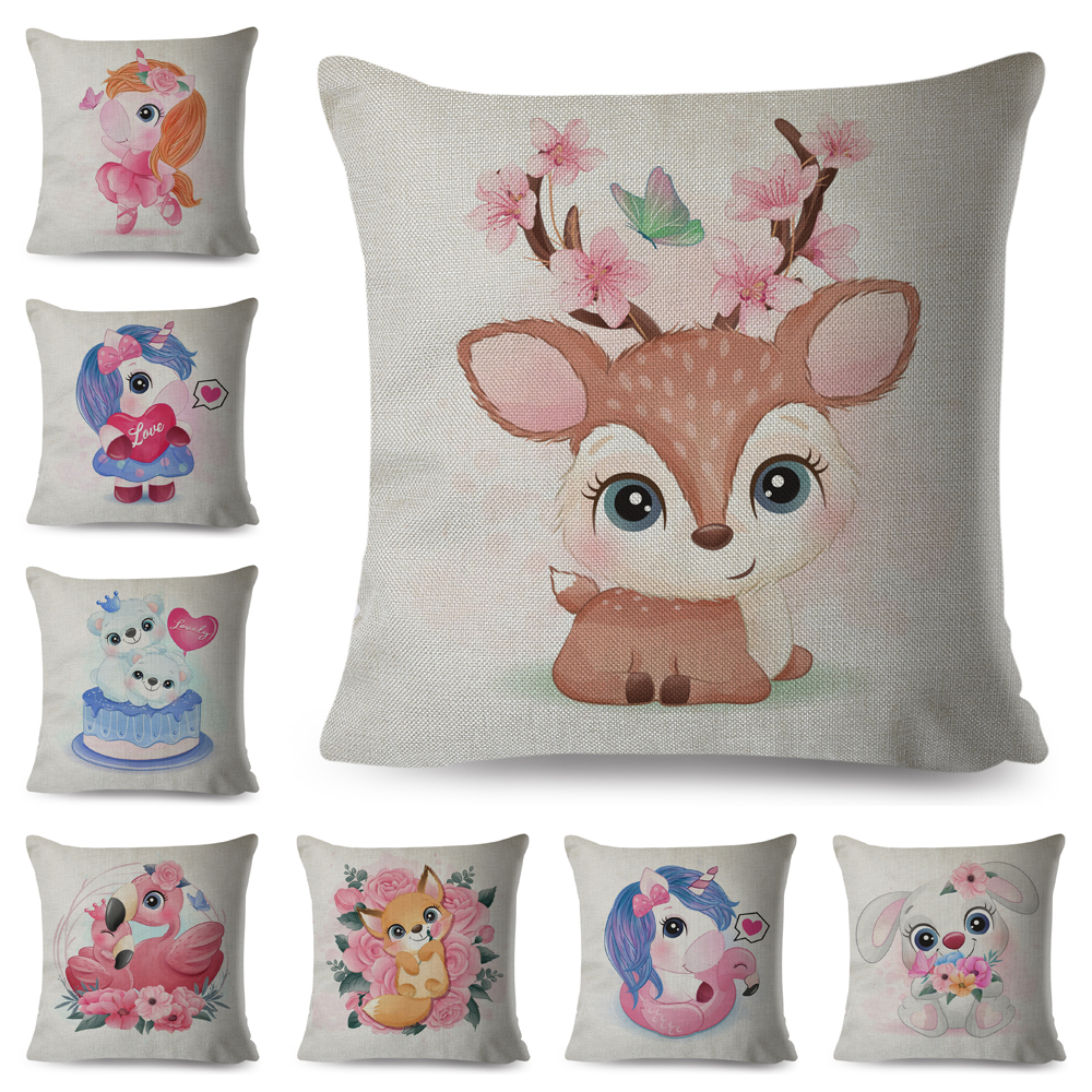 Cute Cartoon Animal Cushion Cover Decor Deer Unicorn Owl Elephant Pillow Case Polyester Pillowcase for Children Room Sofa Home