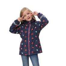Wasserdicht Mode Mit Kapuze Druck Fleece Kind Mantel Baby Mädchen Jacken Kinder Oberbekleidung Kinder Outfits Für Höhe von 98 152cm