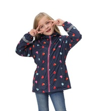 Waterproof Fashion Hooded Print Fleece Child Coat Baby Girls Jackets Children Outerwear Kids Outfits For Height of 98 152cm