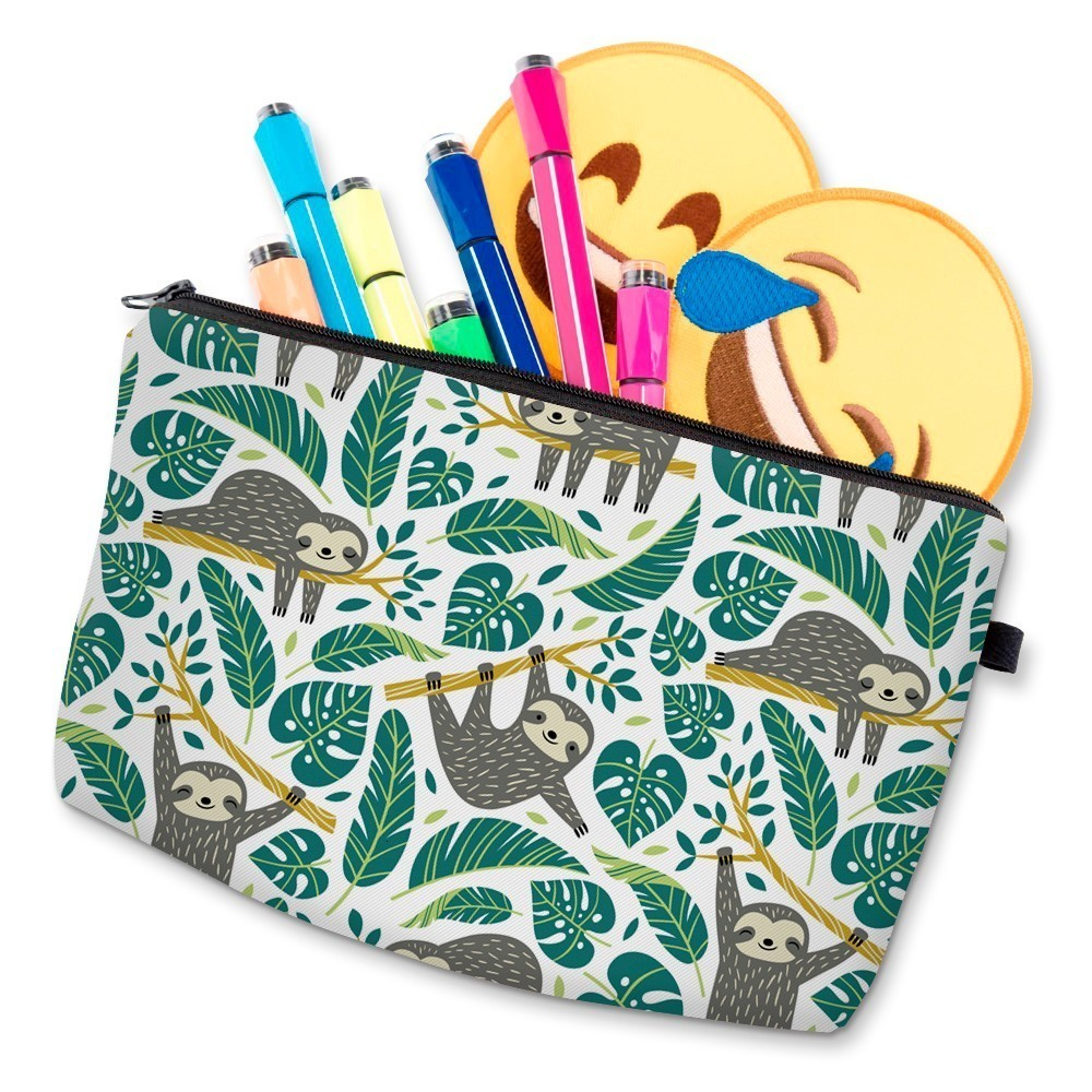 H0eab86ae8cae4554a6fe0cb2107b1c78b - Sloth Cosmetic Bag Waterproof Printing Swanky Turtle Leaf Toilet Bag Custom Style for Travel