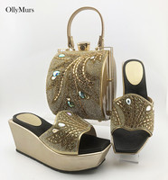 2020 Nigerian PU With Rhinestone Woman Shoes And Bag Sets African Summer High Heels Woman Shoes And Bag Set For Party