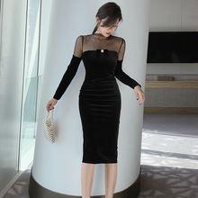 Женское бархатное платье в горошек весеннее европейском и американском