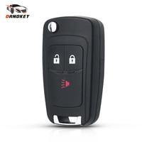 Dandkey 10 Uds. Llave plegable para Chevrolet Cruze Spark Flip mando a distancia Fob 2 + 1 3 botones de reemplazo de la carcasa de la llave a distancia con logotipo