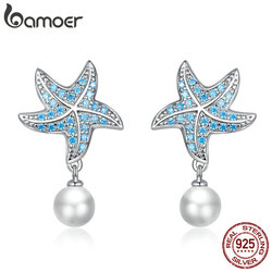 bamoer Genuine 925 Sterling Silver Ocean Blue Starfish with Pearl Stud Earrings for Women Engagement Statement Jewelry BSE405