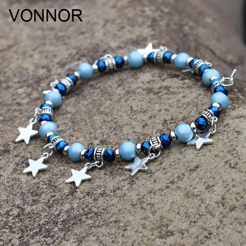 Anklets for Women Boho Jewelry Crystal Wood Bead Elastic String Hanging Star Ankle Leg Bracelet Summer Beach Accessories
