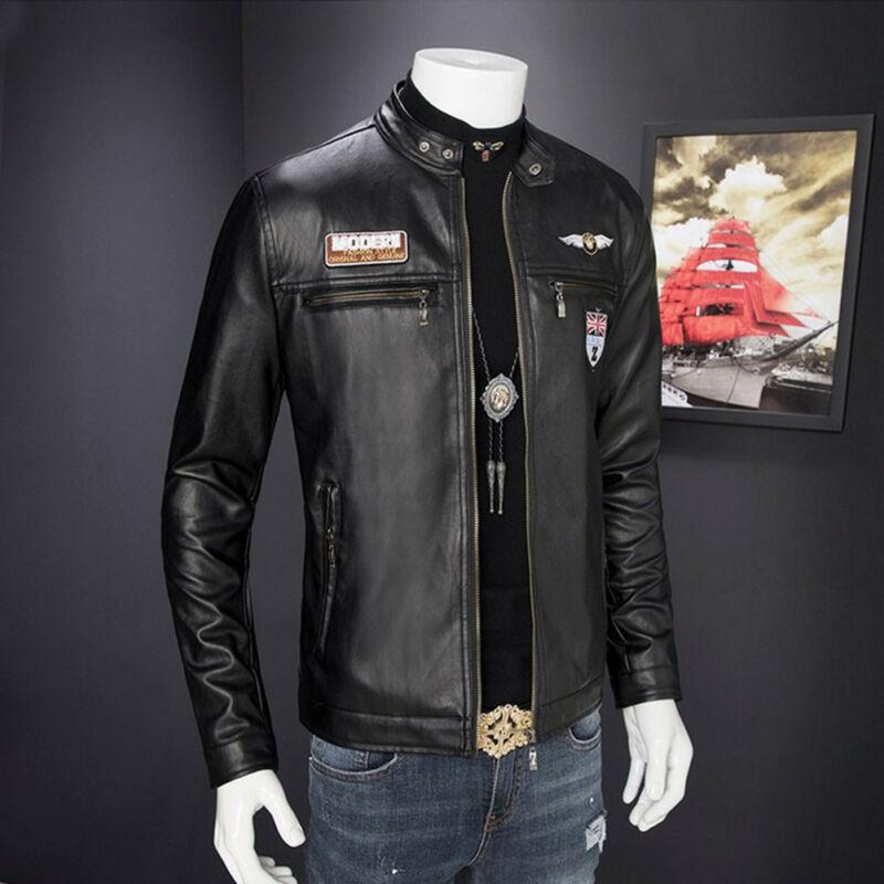 Fashion New Men's Casual Leather Biker Jackets Motorcycle Coat Slim Fit Outwear Tops