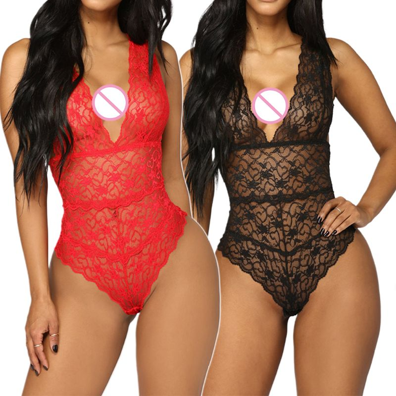 Women Hollow Sheer Floral Lace Lingerie Bodysuit Plunging Deep V-Neck Nightwear