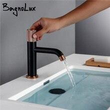 Wholesale Retail Matt Black & Gold Rose Knurled Handle Bathroom Basin Swivel Knurling Knob Design Deck-Mount Water Mixer Tap