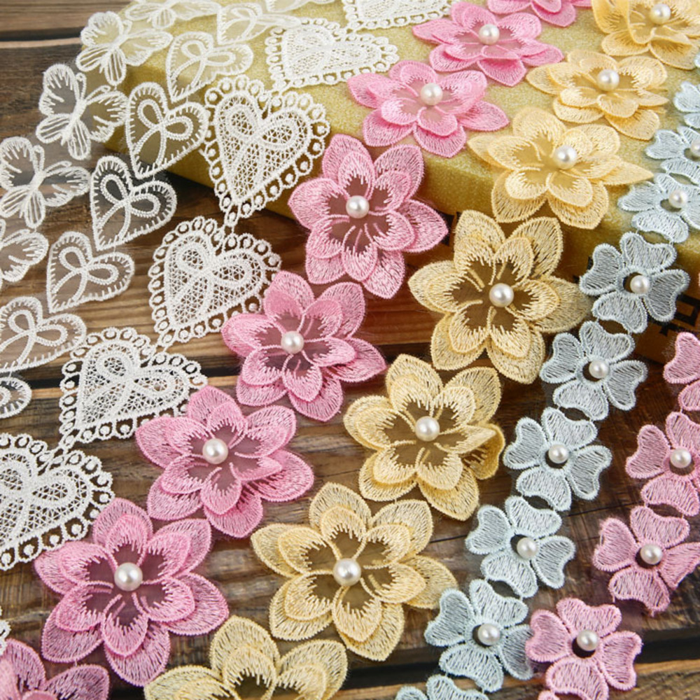 3D Pearl Flower Embroidered Lace Edge Ribbon Dress Fabric Sewing Craft Vintage Patchwork Handmade DIY For Costume Decoration